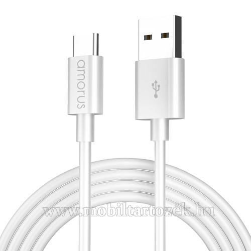 AMORUS adatátvitel adatkábel / USB töltő - USB Type-C, 2.1A, 1m - FEHÉR - GYÁRI