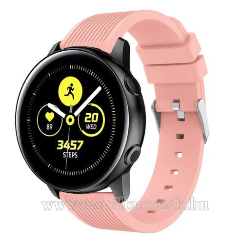 Okosóra szíj - szilikon, csíkos textúra mintás - RÓZSASZÍN - 78mm + 95mm hosszú, 20mm széles, 139-214mm csuklóméretig ajánlott - SAMSUNG Galaxy Watch 42mm / Xiaomi Amazfit GTS / SAMSUNG Gear S2 / HUAWEI Watch GT 2 42mm / Galaxy Watch Active / Active 2