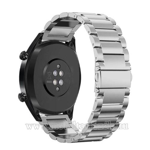 Fém okosóra szíj - EZÜST - rozsdamentes acél, csatos - 185mm hosszú, 22mm széles - HUAWEI Watch GT / HUAWEI Watch Magic / Watch GT 2 46mm