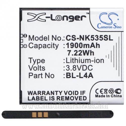 Akku 1900 mAh LI-ION (BL-L4A kompatibilis) -  CS-NK535SL - MICROSOFT Lumia 535 - GYÁRI