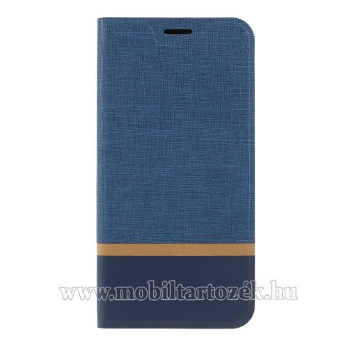 Notesz tok / flip tok - KÉK - asztali tartó funkciós, oldalra nyíló, bankkártya tartó zsebekkel, szilikon belső - SAMSUNG SM-A307F Galaxy A30s / SAMSUNG SM-A505F Galaxy A50 / SAMSUNG Galaxy A50s