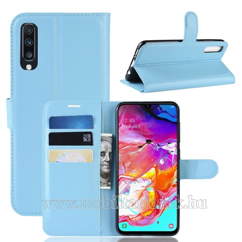 WALLET notesz tok / flip tok - VILÁGOSKÉK - asztali tartó funkciós, oldalra nyíló, rejtett mágneses záródás, bankkártyatartó zseb, szilikon belső - SAMSUNG SM-A705F Galaxy A70