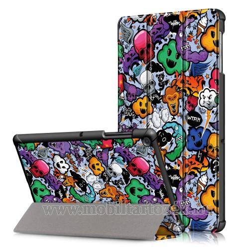 Notesz / mappa tok - KOPONYA / SZÖRNY MINTÁS - oldalra nyíló flip cover, TRIFOLD asztali tartó funkció, mágneses záródás, erősített sarkok, műanyag belső - SAMSUNG SM-T725 Galaxy Tab S5e 10.5 LTE / SAMSUNG SM-T720 Galaxy Tab S5e 10.5 Wi-Fi