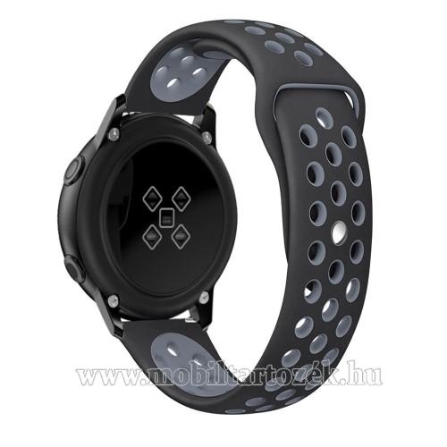Okosóra szíj - légáteresztő, sportoláshoz, szilikon, 123mm + 90mm hosszú, 20mm széles - FEKETE / SZÜRKE - SAMSUNG Galaxy Watch 42mm / Xiaomi Amazfit GTS / HUAWEI Watch GT / SAMSUNG Gear S2 / HUAWEI Watch GT 2 42mm / Galaxy Watch Active / Active  2 / Galax