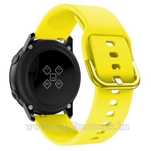 Okosóra szíj - CITROMSÁRGA - szilikon - 83mm + 116mm hosszú, 20mm széles, 130mm-től 205mm-es méretű csuklóig ajánlott - SAMSUNG Galaxy Watch 42mm / Xiaomi Amazfit GTS / HUAWEI Watch GT / SAMSUNG Gear S2 / HUAWEI Watch GT 2 42mm / Galaxy Watch Active / Act