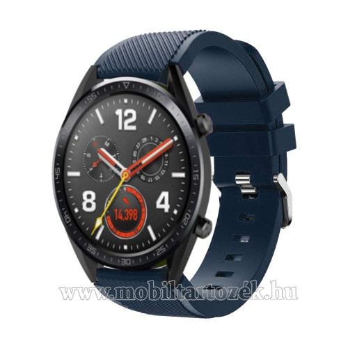 Okosóra szíj - szilikon, Twill mintás - 77mm + 104mm hosszú, 22mm széles - SÖTÉTKÉK - HUAWEI Watch GT / HUAWEI Watch Magic / Watch GT 2 46mm