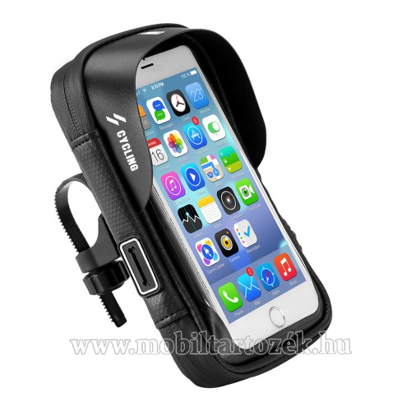 UNIVERZÁLIS biciklis / kerékpáros tartó konzol mobiltelefon készülékekhez - cseppálló védő tokos kialakítás, cipzár, beépített tépőzáras szivacs, 6