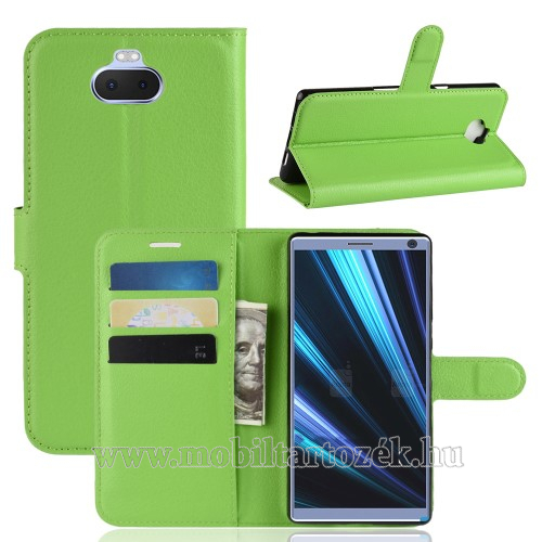 WALLET notesz tok / flip tok - ZÖLD - asztali tartó funkciós, oldalra nyíló, rejtett mágneses záródás, bankkártyatartó zseb, szilikon belső - SONY Xperia 10 Plus