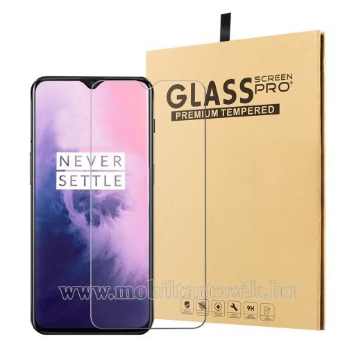 Előlap védő karcálló edzett üveg - 0,25 mm vékony, 9H, Arc Edge, A képernyő sík részét védi - OnePlus 7