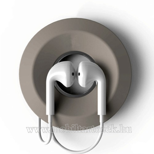Fülhallgató / headset kábel szervező, kötegelő - szilikon, mágneses, kör alakú - VILÁGOSSZÜRKE