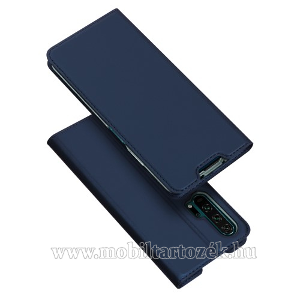 DUX DUCIS slim design notesz / mappa tok - SÖTÉTKÉK - oldalra nyíló flip cover, asztali tartó funkció, szilikon belső, mágneses záródás - HUAWEI Honor 20 Pro - GYÁRI