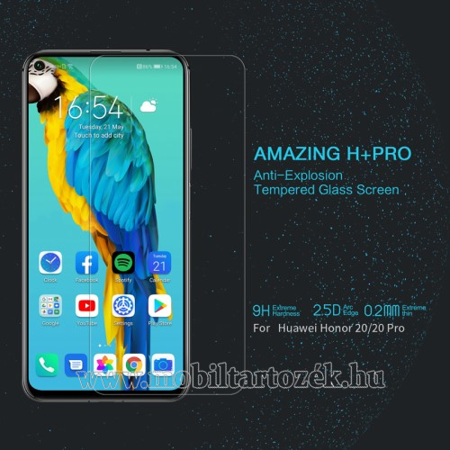 NILLKIN Amazing H+PRO előlap védő karcálló edzett üveg - 0.2mm, 9H, A képernyő sík részét védi - HUAWEI Honor 20 / HUAWEI Honor 20S / HUAWEI nova 5T/ HUAWEI Honor 20 Pro - GYÁRI