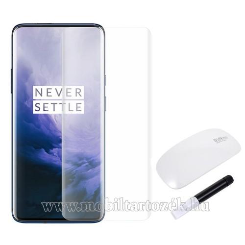 RURIHAI 3D Full Glue UV Liquid előlap védő karcálló edzett üveg, 0.26mm, UV lámpával - ÁTLÁTSZÓ - OnePlus 7 Pro / OnePlus 7 Pro 5G / OnePlus 7T Pro - A TELJES KIJELZŐT VÉDI! - GYÁRI