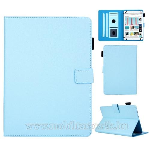 UNIVERZÁLIS notesz / mappa tablet PC tok - VILÁGOSKÉK - álló, bőr, rejtett mágneses záródás, bankkártyatartó zsebek, asztali tartó funkciós, ceruzatartó, 8