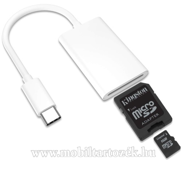 Memóriakártya olvasó adapter - USB 3.1 Type C, microSD kártya olvasás (max 64GB) - FEHÉR
