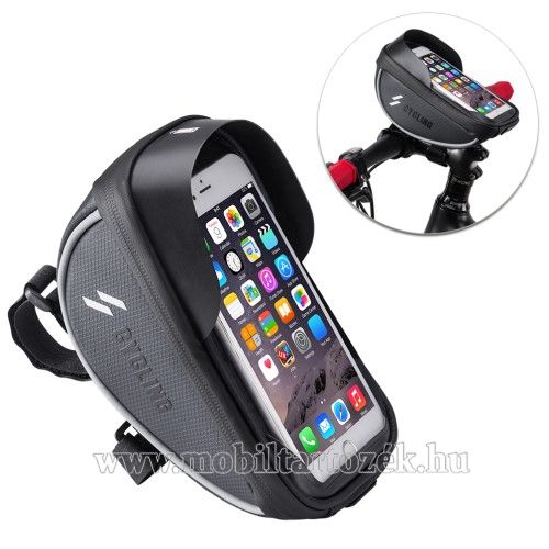 UNIVERZÁLIS biciklis / kerékpáros tartó konzol mobiltelefon készülékekhez - cseppálló védő tokos kialakítás, cipzár, kormányra rögzíthető, 105 x 175 x 95mm - FEKETE