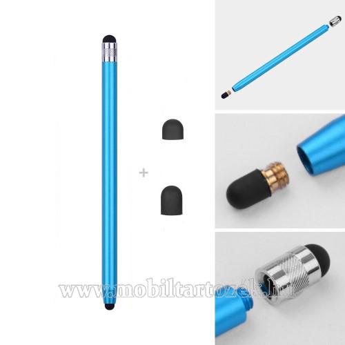 Érintőképernyő ceruza - kapacitív kijelzőhöz, 14,2cm hosszú, cserélhető tartalék érintőpárnákkal 1db 5mm-es és 1db 7mm-es - VILÁGOSKÉK