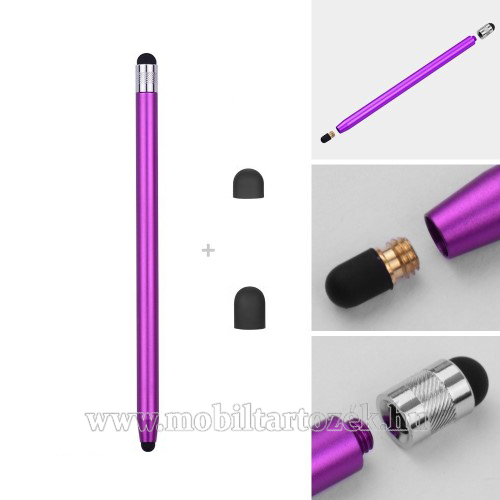Érintőképernyő ceruza - kapacitív kijelzőhöz, 14,2cm hosszú, cserélhető tartalék érintőpárnákkal 1db 5mm-es és 1db 7mm-es - LILA