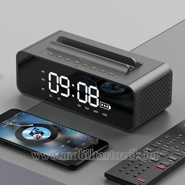 Hordozható bluetooth hangszóró / telefon tartó állvány - V4.2, ébresztőóra, FM rádió, beépített mikrofon, 10W, beépített 2400mAh akkumulátor, 3.5mm AUX, USB, kihangosító funkció, memóriakártya olvasás - SZÜRKE - 80x78x73mm