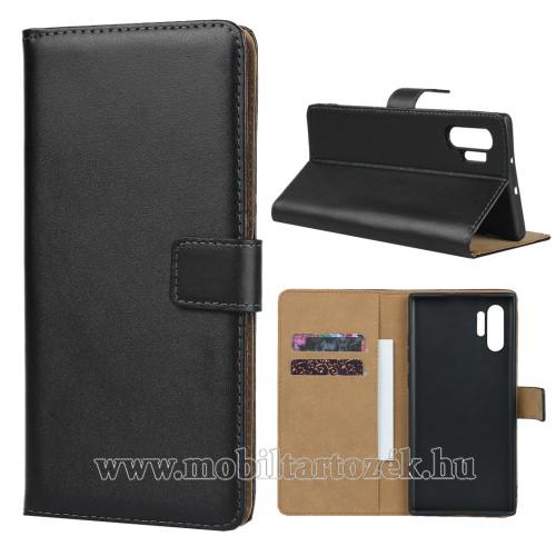 Notesz tok / flip tok - FEKETE - valódi bőr, asztali tartó funkciós, oldalra nyíló, rejtett mágneses záródás, bankkártyatartó zseb, szilikon belső - SAMSUNG Galaxy Note10 Plus (SM-N975F) / SAMSUNG Galaxy Note10 Plus 5G (SM-N976F)
