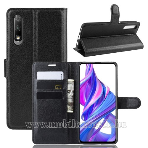 WALLET notesz tok / flip tok - FEKETE - asztali tartó funkciós, oldalra nyíló, rejtett mágneses záródás, bankkártyatartó zseb, szilikon belső - HUAWEI P smart Pro (2019) / HUAWEI Y9s / Honor 9X (For China market) / Honor 9X Pro (For China)