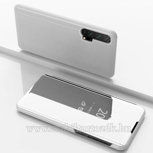 Notesz / flip tok - EZÜST - oldalra nyíló áttetsző tükrös flip cover, asztali tartó funkció, műanyag belső - HUAWEI Honor 20 Pro