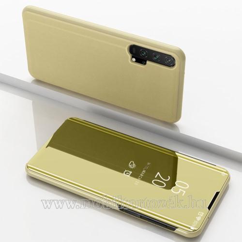Notesz / flip tok - ARANY - oldalra nyíló áttetsző tükrös flip cover, asztali tartó funkció, műanyag belső - HUAWEI Honor 20 / HUAWEI Honor 20S / HUAWEI nova 5T / HUAWEI Honor 20 Pro