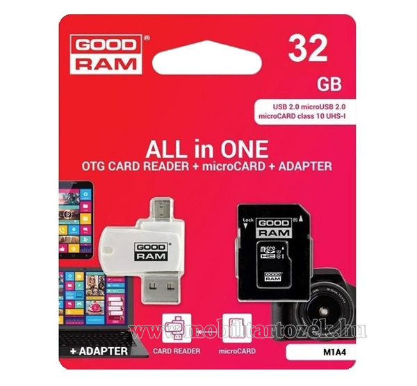 GOODRAM/TOSHIBA All In One memóriakártya TransFlash 32GB - microSDHC EVO - Class 10, UHS-1 + SD adapter + OTG USB kártyaolvasó - M1A4-0320R12 -GYÁRI