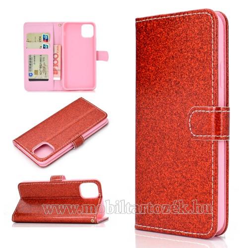 Notesz / mappa tok - PIROS - csillogó, flitteres, oldalra nyíló, rejtett mágneses záródás, belső zseb, asztali tartó funkció, szilikon belső - APPLE iPhone 11