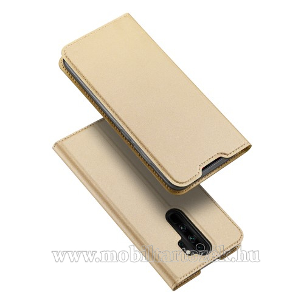 DUX DUCIS slim design notesz / mappa tok - ARANY - oldalra nyíló flip cover, asztali tartó funkció, szilikon belső, mágneses záródás - Xiaomi Redmi Note 8 Pro - GYÁRI