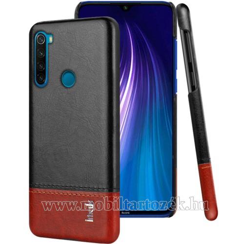 IMAK Ruiyi műanyag védő tok / hátlap - BŐRBEVONATÚ HÁTLAP - BARNA / FEKETE - Xiaomi Redmi Note 8 - GYÁRI