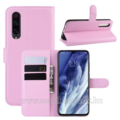 WALLET notesz tok / flip tok - RÓZSASZÍN - asztali tartó funkciós, oldalra nyíló, rejtett mágneses záródás, bankkártyatartó zseb, szilikon belső - Xiaomi Mi 9 Pro / Xiaomi Mi 9 Pro 5G