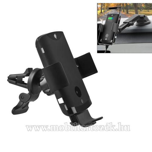 UNIVERZÁLIS autós / gépkocsi tartó - szellőzőrácsra és szélvédőre vagy műszerfalra rögzíthető, FOD támogatás, 60-82 mm-ig állítható bölcső, infravörös érzékelő automatikusan nyit és zár - QI funkció, kimenet 5V-1.5A/9V-1.2A, 10W, fogadóegység nélkül!