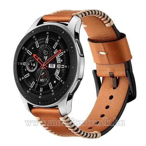 Valódi bőr okosóra szíj - 75mm + 125mm hosszú, 22mm széles, varrás mintás - BARNA - HUAWEI Watch GT / HUAWEI Watch 2 Pro / Honor Watch Magic / HUAWEI Watch GT 2 46mm