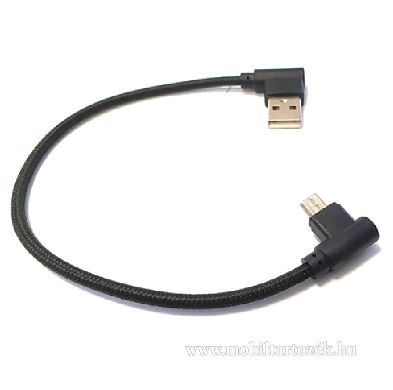 Adatátviteli kábel / USB töltő - microUSB, 90°-os derékszögű, 25cm hosszú, 2A, szövettel bevont - FEKETE