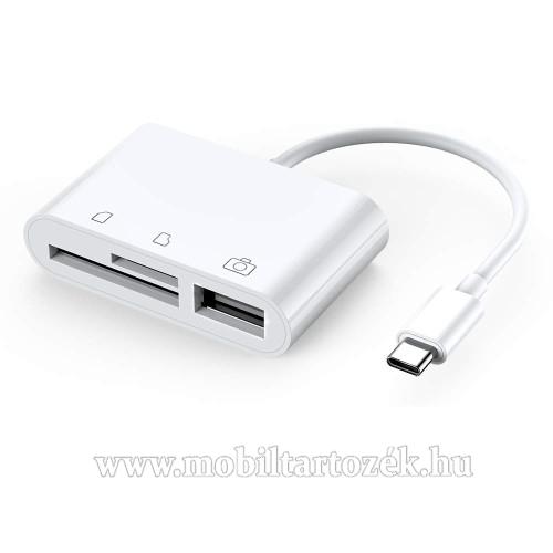 Memóriakártya olvasó / OTG adapter - USB 2.0 Type C, microSD és TF kártya olvasás (max 64GB) - SD/TF kártya és az OTG funkció nem használható egyszerre! - FEHÉR