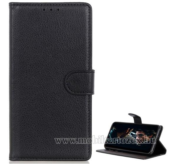 WALLET notesz tok / flip tok - FEKETE - asztali tartó funkciós, oldalra nyíló, rejtett mágneses záródás, bankkártyatartó zseb, prémium, szilikon belső - SAMSUNG Galaxy A51 (SM-A515F)
