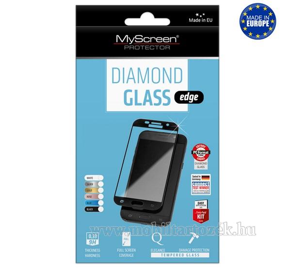 MYSCREEN DIAMOND GLASS EDGE előlap védő karcálló edzett üveg - FEKETE - 9H, 0.33 mm, 2.5D, A teljes felületén tapad! - A TELJES KIJELZŐT VÉDI! - OnePlus 7T - GYÁRI