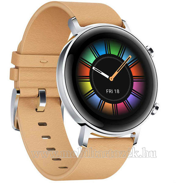 HUAWEI Watch GT 2 okosóra - 42mm, beépített GPS, 3D edzett üveg, aktívitás figyelő, valódi bőr szíjjal - BÉZS - 55024475 - GYÁRI