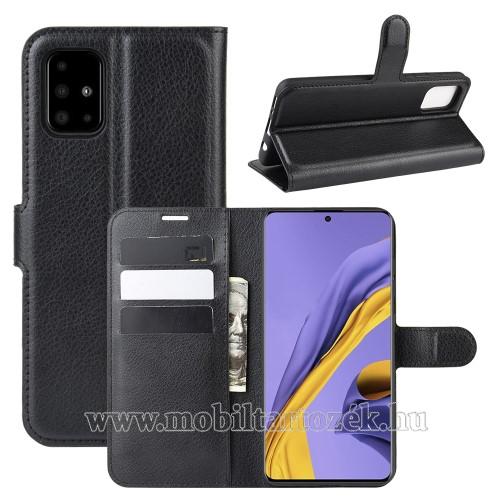 WALLET notesz tok / flip tok - FEKETE - asztali tartó funkciós, oldalra nyíló, rejtett mágneses záródás, bankkártyatartó zseb, szilikon belső - SAMSUNG Galaxy A51 (SM-A515F)