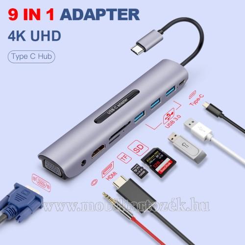 USB Type-C 9 az 1-ben dokkoló állomás - 3x USB 3.0 port + 1x Type-C töltőport + 1x HDMI port + 1x 3.5mm jack + TF / SD kártyaolvasó, 1x VGA csatlakozás - EZÜST