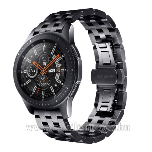 Fém okosóra szíj - FEKETE - rozsdamentes acél, speciális pillangó csatos, 20mm széles - SAMSUNG Galaxy Watch 42mm / Xiaomi Amazfit GTS / HUAWEI Watch GT / SAMSUNG Gear S2 / HUAWEI Watch GT 2 42mm / Galaxy Watch Active / Active 2