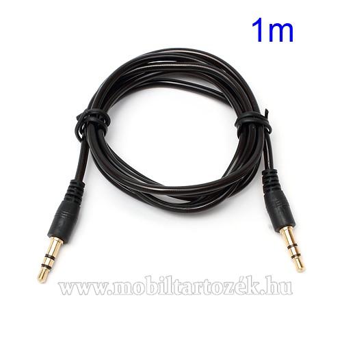 AUX Audió kábel - 2 x 3.5mm jack csatlakozó, 1m hosszú kábel - FEKETE