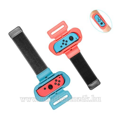 Nintendo Switch Joy-Con jobb és bal oldali kontrollerhez állítható csuklópántok - 1pár/2db,  1x hosszú: 32cm, 1x rövid: 28cm, Just Dance 2020/2019-hez ajánlott - PIROS / KÉK