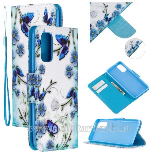 Notesz tok / flip tok - VIRÁG ÉS LEPKE MINTÁS - asztali tartó funkciós, oldalra nyíló, rejtett mágneses záródás, bankkártyatartó zseb, szilikon belső - SAMSUNG Galaxy A51 (SM-A515F)