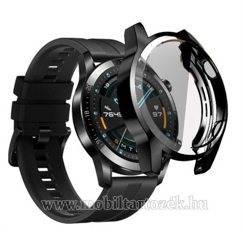 Okosóra szilikon védő tok / keret - FEKETE - Szilikon előlapvédő is  - HUAWEI Watch GT 2 46mm / HONOR Magicwatch 2 46mm