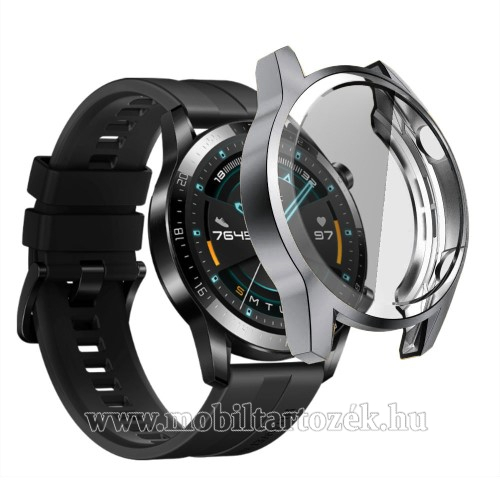Okosóra szilikon védő tok / keret - SZÜRKE - Szilikon előlapvédő is  - HUAWEI Watch GT 2 46mm / HONOR Magicwatch 2 46mm