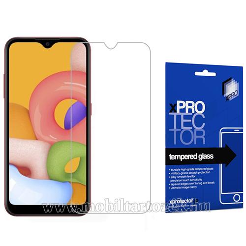 Xpro előlap védő karcálló edzett üveg - 0,33 mm vékony, 9H, Arc Edge, A képernyő sík részét védi - SAMSUNG Galaxy A01 (SM-A015F) - GYÁRI