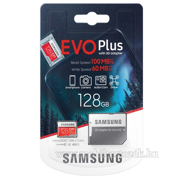 SAMSUNG MEMÓRIAKÁRTYA TransFlash 128GB (microSDXC EVO plus - Class 10, UHS-1, U3) + SD adapter - MB-MC128HA/EU - GYÁRI