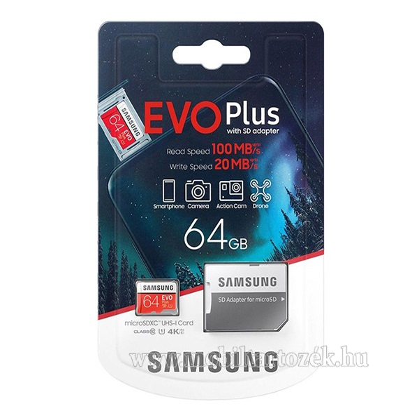 SAMSUNG MEMÓRIAKÁRTYA TransFlash 64GB (microSDXC EVO plus - Class 10, UHS-1, U1) + SD adapter - MB-MC64HA/EU - GYÁRI